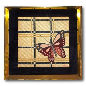 Vintage Plaid Butterfly Handmade Embroidered Textile Art in Needlepoint